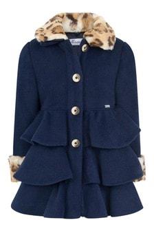 Girls Navy Leopard Trim Coat