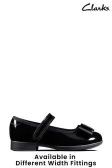Clarks Black Pat Scala Tap T Shoes