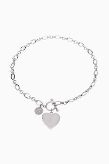 Silver Tone Pavé Disc Heart Charm Necklace