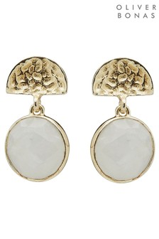 Oliver Bonas White Marisol Semi Circle & Moonstone Gold Plated Drop Earrings