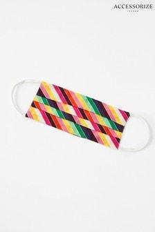 Accessorize Rainbow Stripe Face Covering In Pure Cotton