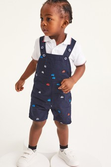 Navy Dungarees And Polo Shirt Set (3mths-7yrs)