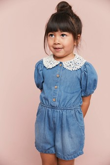 Denim Light Blue Denim Collar Playsuit (3mths-7yrs)