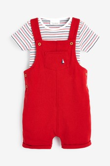 Red Dungarees And Bodysuit Set (0mths-2yrs)