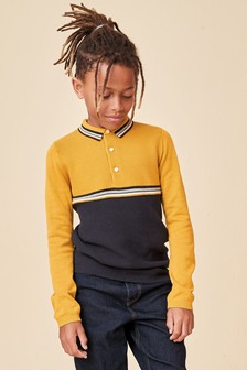 Ochre Knitted Colourblock Polo (3-16yrs)
