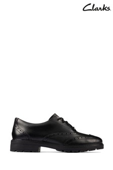 Clarks Black Leather Loxham Brogue Youths Shoes