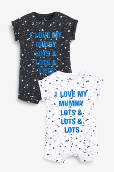 Monochrome 2 Pack Paint Splatter Mummy And Daddy Rompers (0mths-3yrs)