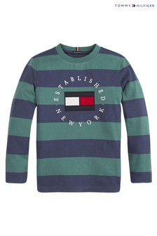 Tommy Hilfiger Green Striped Heritage Long Sleeve T-Shirt