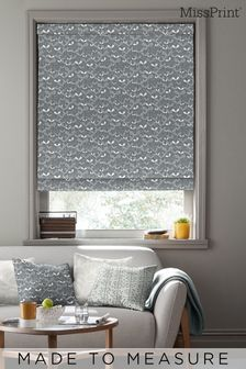Saplings Graphite Black Made To Measure Roman Blind by MissPrint