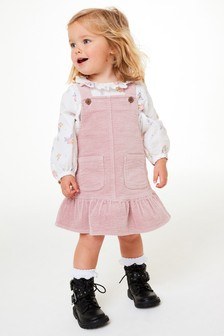 Pale Pink Frill Cord Pinafore (3mths-7yrs)