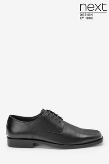 Black Square Toe Derby Shoes