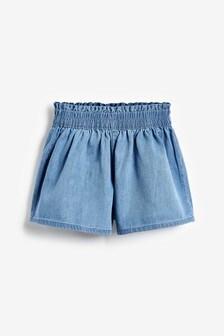 Mid Blue Paperbag Waist Shorts (3-16yrs)