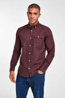 Burgundy Regular Fit Textured Overdye Long Sleeve Shirt