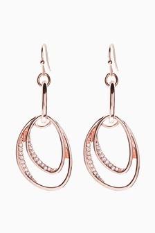 Rose Gold Tone Ellipse Sparkle Drop Earrings