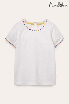 Boden White Charlie Pom Jersey T-Shirt