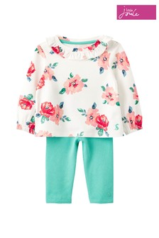 Joules White Posie Frill Top & Leggings Set