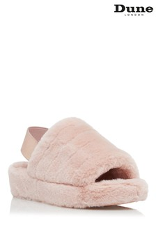 Dune London Pink Wynnie Fluffy Mule Slingback Slippers