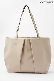 Accessorize Cream Savannah Pleated Slouch Shopper Bag
