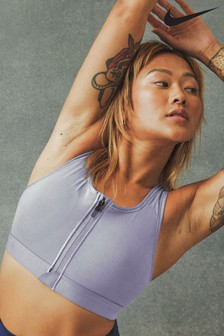 Nike Swoosh Zip Front Medium Support Sports Bra