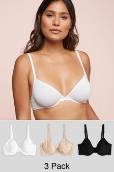 Black/White/Nude Lizzie Non Padded Wired Cotton Balcony Bras Three Pack