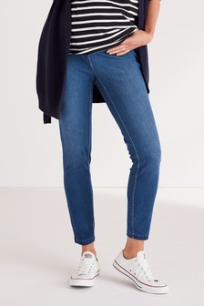 Dark Wash Maternity Jersey Denim Leggings