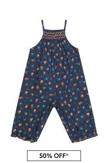 Bonpoint Baby Girls Navy Cotton Jumpsuit