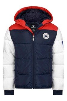 Boys Navy Varsity Padded Jacket