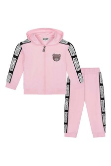 Girls Pink Cotton Logo Tracksuit
