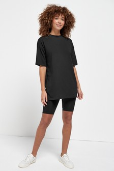 Black Oversized T-Shirt & Cycling Short Set