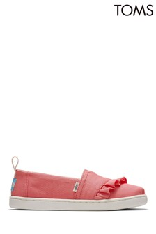 Toms Peach Canvas/Ruffle Alpargata Shoes