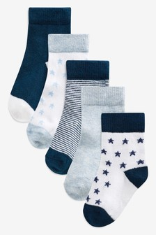 Blue/Navy Socks Five Pack (Younger)