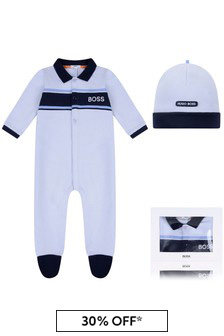 Blue Boys Pale Blue Babygrow Gift Set