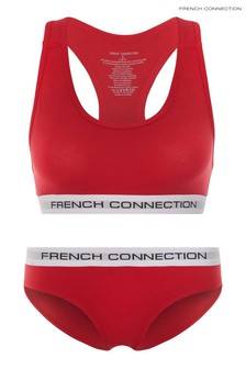 French Connection Red Plain Crop Top And Briefs Set