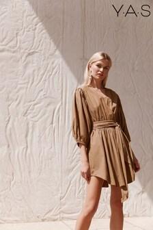 Y.A.S Organic Cotton Olive Poplin Ermi Wrap Dress