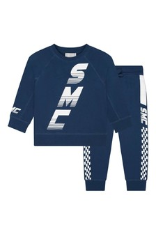 Boys Navy Fleece Logo Tracksuit