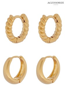 Accessorize Gold Plated Twist and Plain Huggie Hoop Set