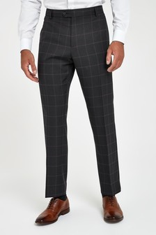 Navy Trousers Check Slim Fit Suit