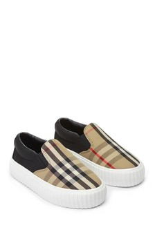 Kids Black And Check Slip-On Trainers