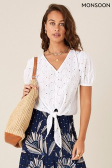 Monsoon White Schiffli Lace Tie Front Top