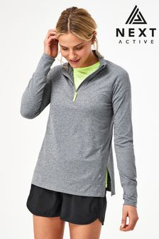 Charcoal Zip Neck Running Top
