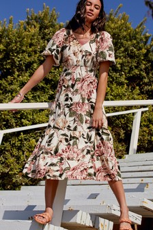 Ecru Floral Volume Sleeve Tiered Jersey Dress