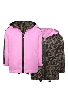 Fendi Kids White & Brown Reversible Windbreaker Jacket