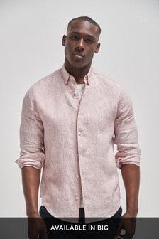Red Regular Fit Linen Stripe Long Sleeve Shirt