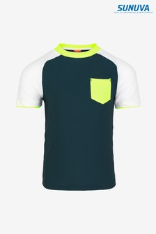 Sunuva Navy Colourblock Short Sleeve Rash Vest