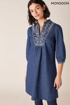 Monsoon Blue Embroidered Denim Dress