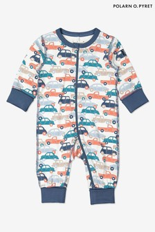 Polarn O. Pyret Blue Gots Organic Car Print Onesie Pyjamas
