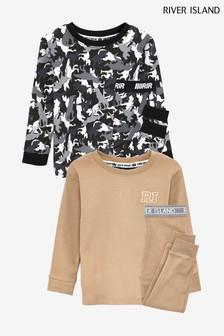 River Island Stone Medium Camo Snuggle Fit Pyjamas Two Pack