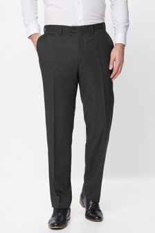Charcoal Grey Regular Fit Wool Blend Textured Trousers