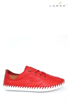 Lunar Red Leather Plimsolls