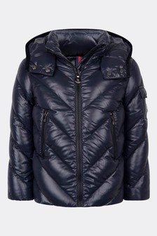 Girls Navy Down Padded Brouel Jacket